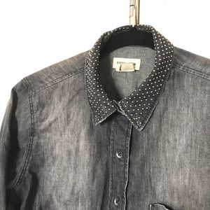 H&M Studded Collar Denim Shirt
